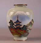 Ando School Silver and Wireless Cloisonne Vase, Mt Fuji