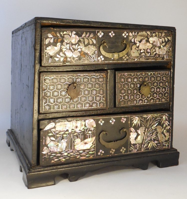 Korean Mother Of Pearl Inlaid Black Lacquer Small Chest With Drawers